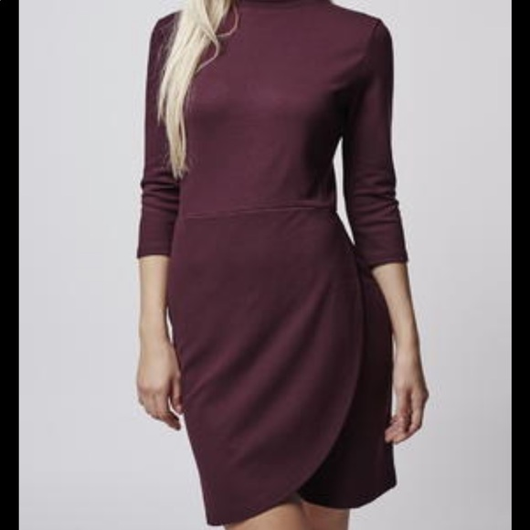Topshop Front Wrap Burgundy Dress - Size 4